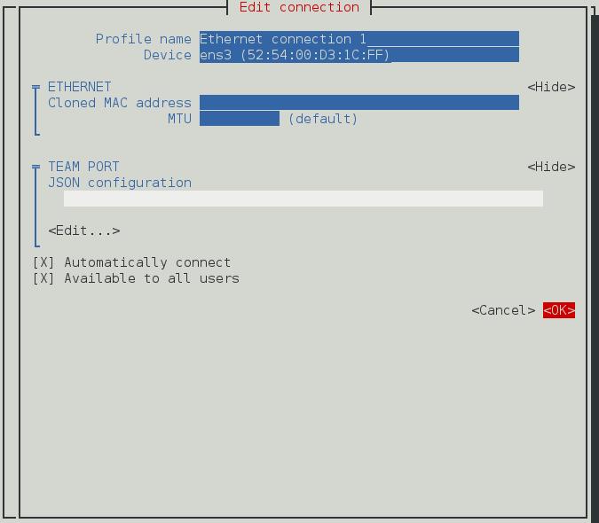 NetworkManager テキスト形式ユーザーインターフェースでチームのポートインターフェース接続を設定するメニュー