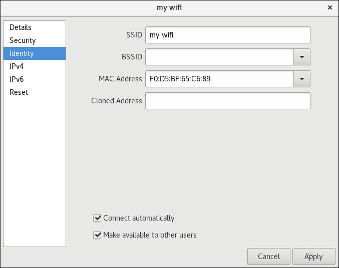 Wi-Fi 接続に関する基本設定オプション
