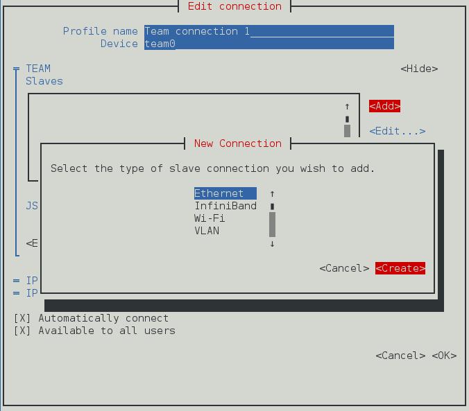 NetworkManager テキスト形式ユーザーインターフェースで新規チームポートインターフェース接続を設定するメニュー