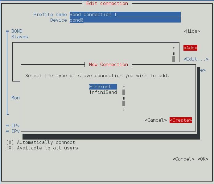 NetworkManager テキスト形式ユーザーインターフェースで新規ボンドスレーブを設定するメニュー