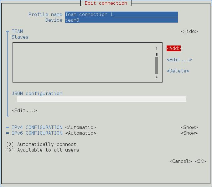 NetworkManager テキスト形式ユーザーインターフェースでチーム接続を設定するメニュー