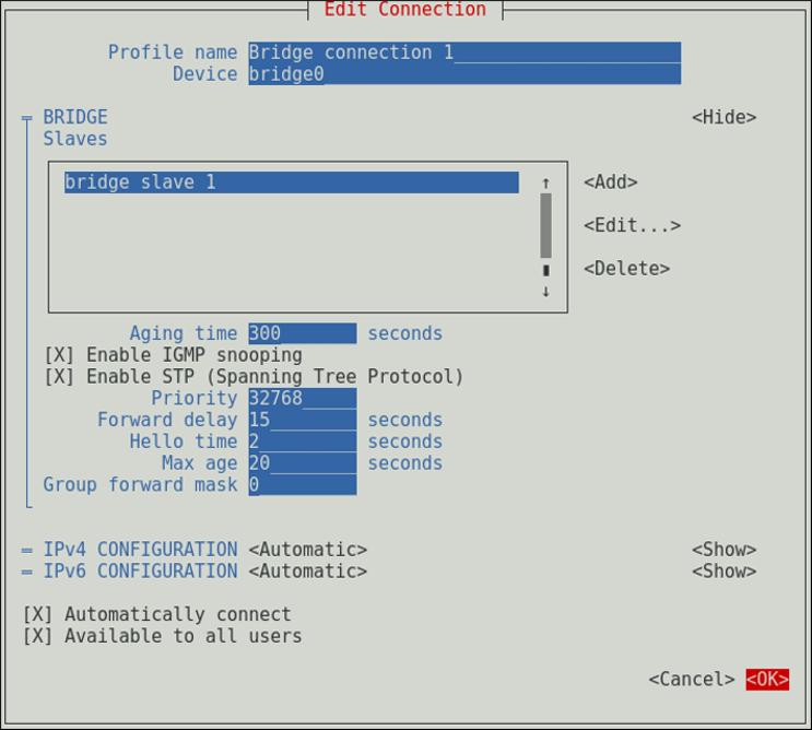 NetworkManager テキスト形式ユーザーインターフェースでブリッジを設定するメニュー