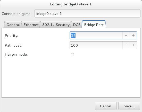 NetworkManager グラフィカルユーザーインターフェースでのブリッジポートタブ