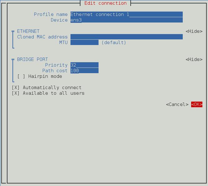 配置桥接从属连接的 NetworkManager 文本用户界面菜单