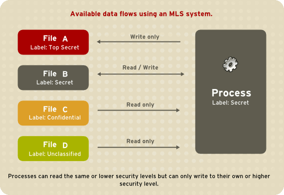 Allowed data flows using MLS