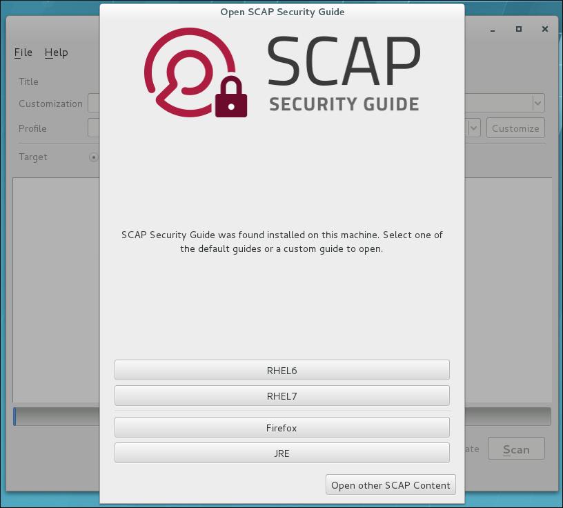 SCAP セキュリティーガイドの表示ウィンドウ