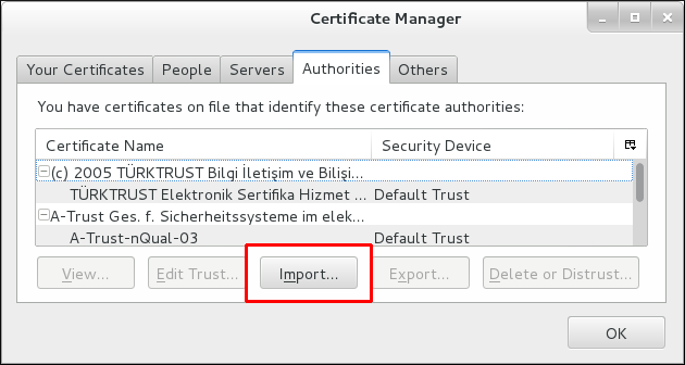 Importing the CA Certificate in Thunderbird