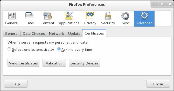 Certificates Tab in Firefox