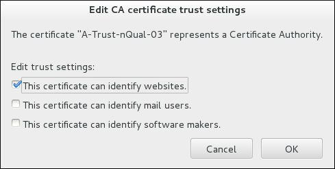 Editing the Certificate Trust Settings in Thunderbird