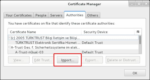 Firefox での CA 証明書のインポート