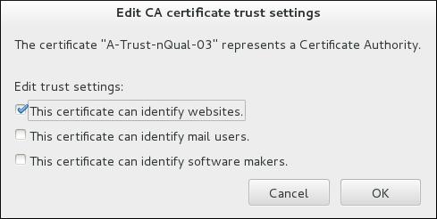 Firefox での証明書の信頼性設定の編集