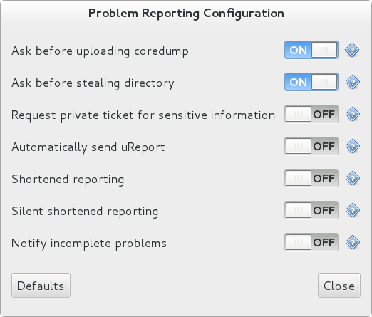 Configuring ABRT Problem Reporting