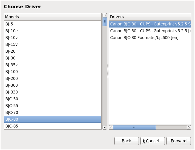 Selecting a Printer Model with a Driver Menu