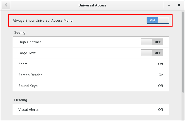 always show univ access menu
