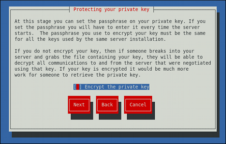 Encrypting the private key