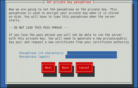 Entering a passphrase