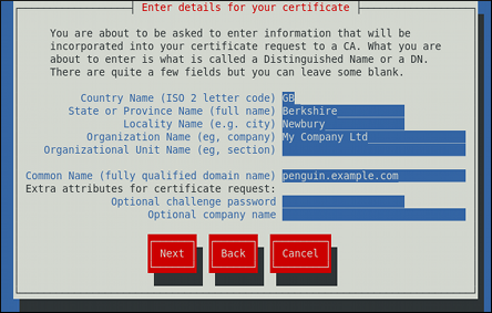 Specifying certificate information