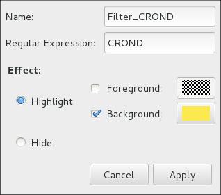 System Log - définir un filtre