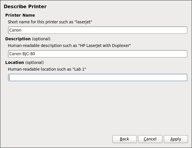 Installation de l'imprimante