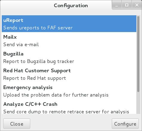 Configurer des événements ABRT