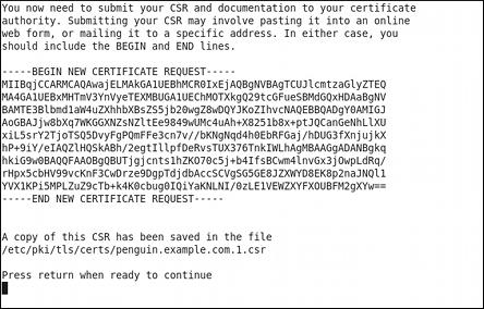 Instructions sur la manière d'envoyer une requête de certificat
