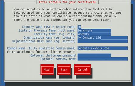 Spécifier les informations du certificat