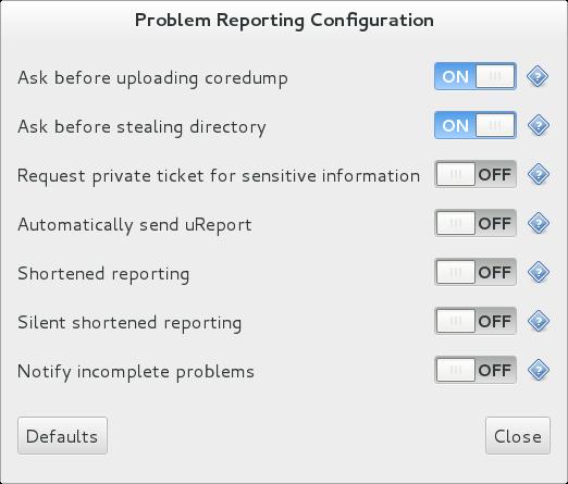 ABRT GUIアプリケーションの構成ウィンドウのスクリーンショット。