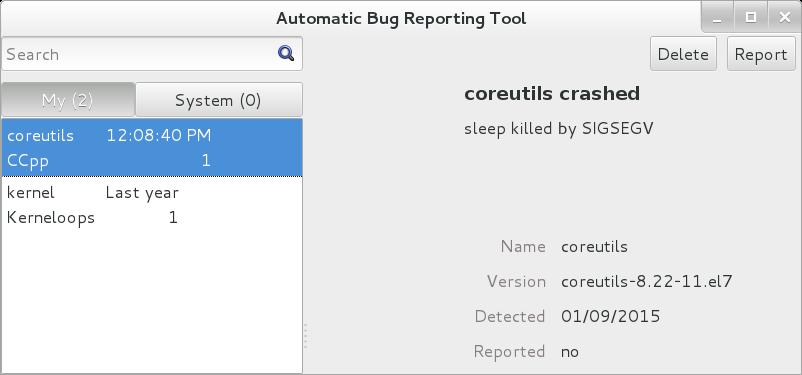 ABRT GUI アプリケーションのスクリーンショット。