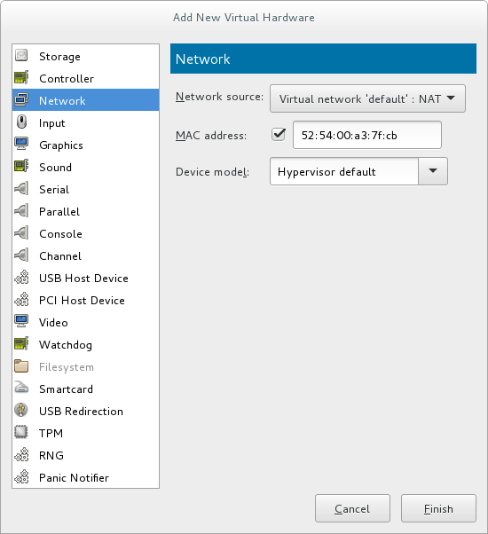 The Add new virtual hardware wizard with Network selected as the hardware type.
