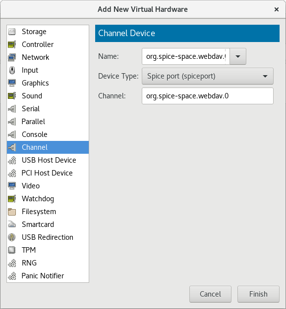 Selecting the SPICE agent channel device