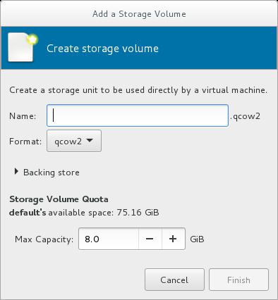 「ストレージボリュームを作成 (Add a Storage Volume)」ウィンドウ