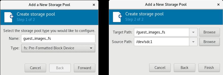 新しいファイルシステムベースのストレージプールの追加例