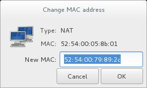 「MAC アドレスを変更」ウィンドウ