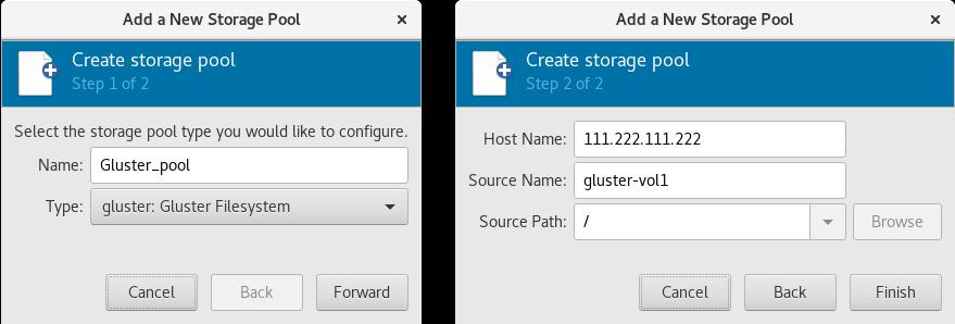 新しい GlusterFS ベースのストレージプールの追加例