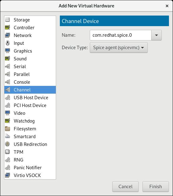 SPICE エージェントチャンネルデバイスの選択