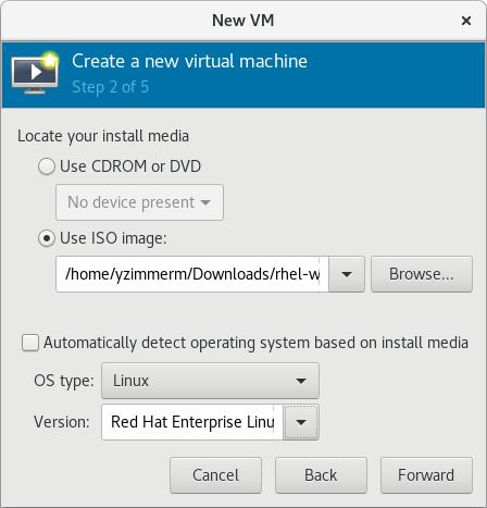 OS の種類とバージョンを指定する