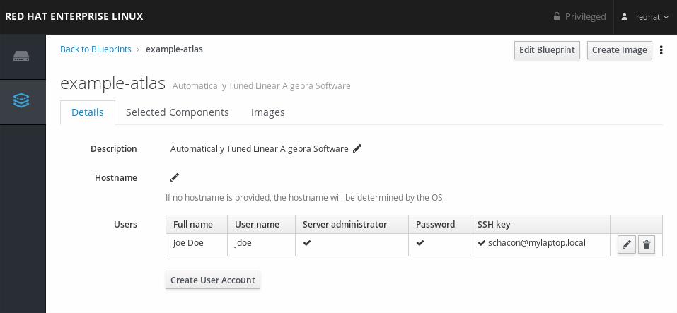 作成された Image Builder ユーザーアカウント