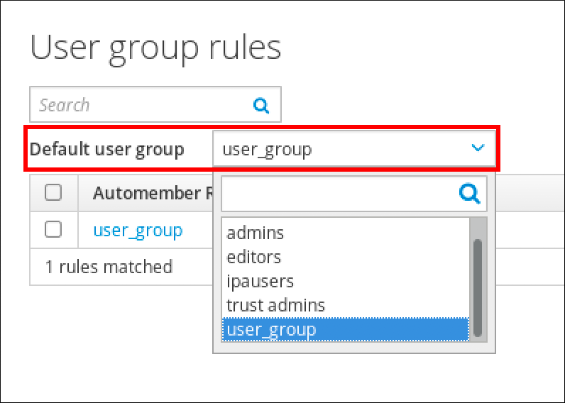 Setting a default user group