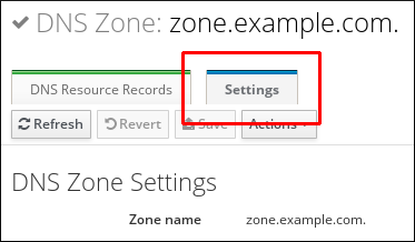 A screenshot highlighting the Settings tab in the primary zone edit page