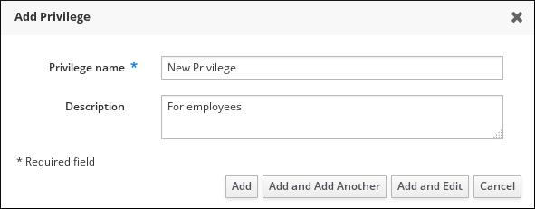 Form for adding a privilege