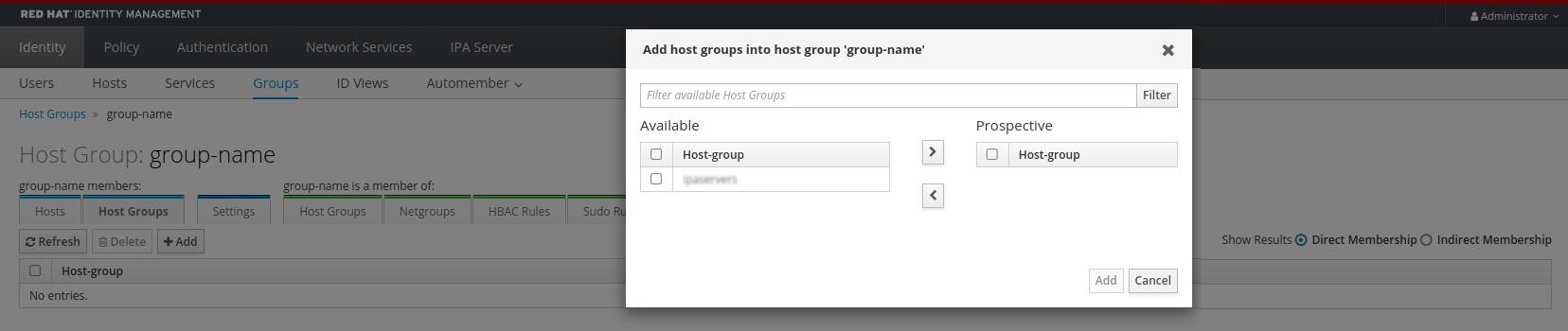 idm adding host group members
