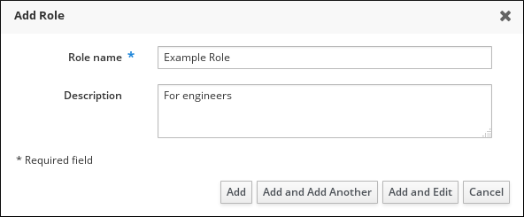 Form for adding a role
