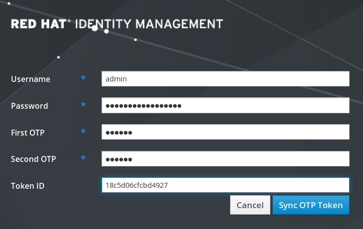 """A screenshot of the screen to change the OTP token. The """"Username"""" field has been filled in with """"admin"""". The password in the """"Password"""" field has been obfuscated with solid circles. The """"First OTP"""" and """"Second OTP"""" fields also have their 6-character entries obfuscated. The last field is labeled """"Token ID"""" and has 16 hexadecimal characters such as """"18c5d06cfcbd4927"""". There are """"Cancel"""" and """"Sync OTP Token"""" buttons at the bottom right."""