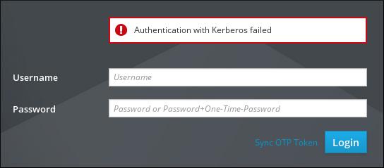 "IdM Web UI 登录屏幕截图显示空 Username 和 Password 字段上方的错误。错误消息指出""身份验证与 Kerberos 失败""。"