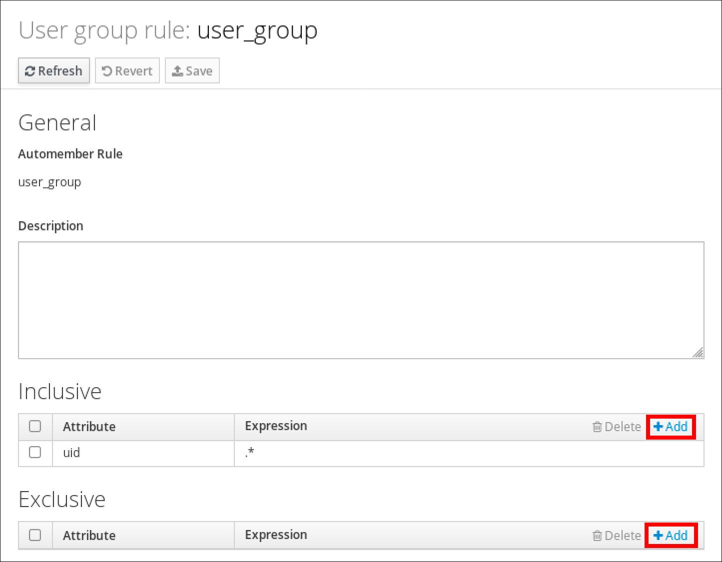 "User group 规则页面的屏幕截图,其中显示了 user_group 规则的属性。""Inclusive""部分有一个带有""Attribute""列的表,以及带有 Attribute ""uid"" 条目的""Expression""列,其表达式为 "".*""。底部是 Exclusive 部分,它也有一个含有 Attribute 列和 Expression 列的表,但它没有条目。"