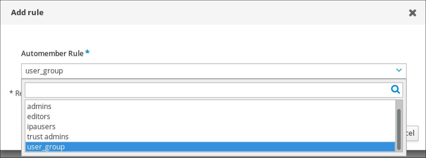 """""""添加规则""""窗口的截图显示 Automember Rule 的下拉字段,您可以在其中选择之前定义的规则。"""