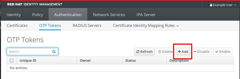 Screenshot of the IdM Web UI highlighting the Add button near the top-right of the OTP Tokens page which is a sub-page of the Authentication section