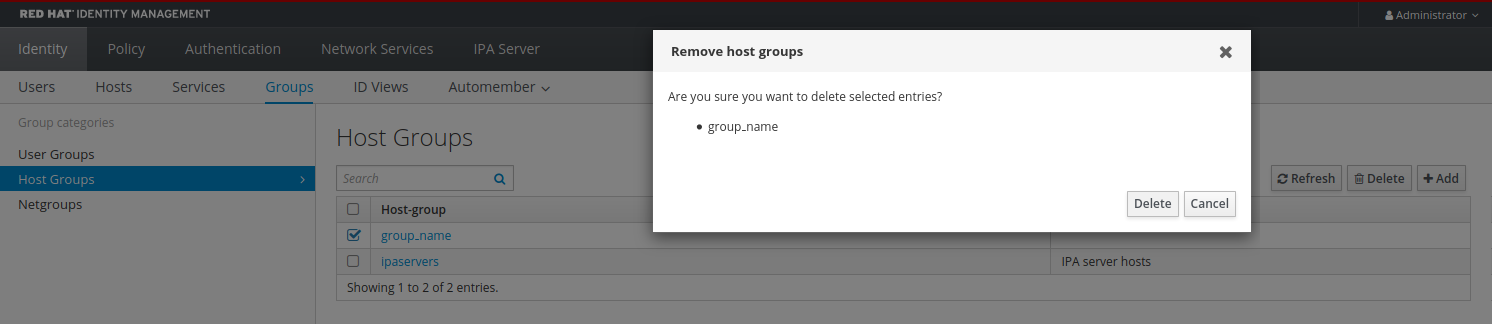 """Screenshot of the """"Remove host groups"""" pop-up window asking if you are sure you want to delete the selected entries. There are two buttons at the bottom right: """"Delete"""" and """"Cancel."""""""