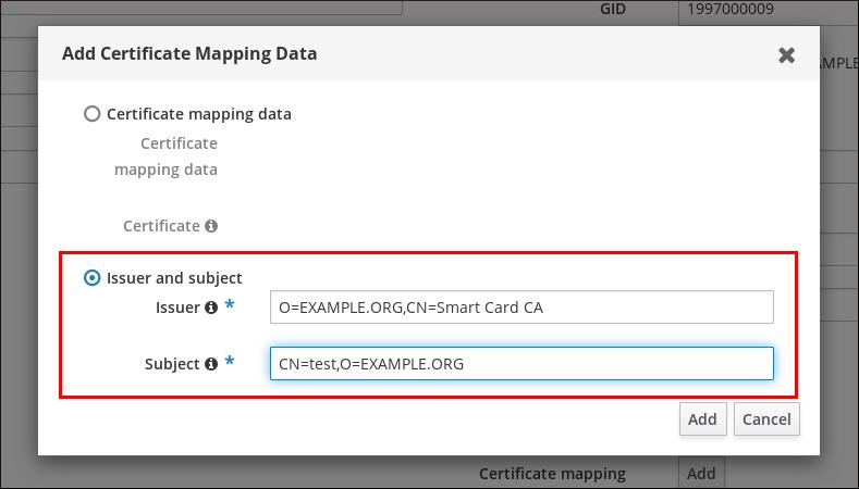 """""""添加证书映射数据""""弹出窗口的屏幕截图有两个重要按钮选项:证书映射数据""""证书映射数据""""和""""Issuer 和 subject.""""已选中,并且填写了它的两个字段(颁发程序和主题)。"""