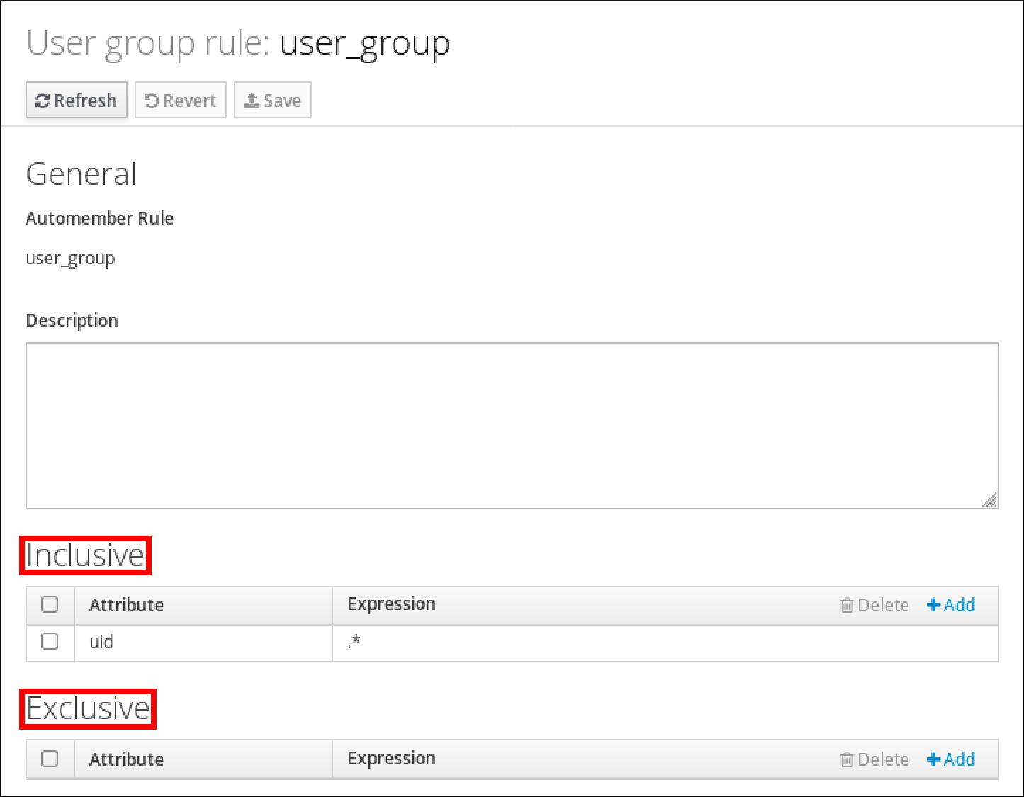 """包含用户组规则""""user_group""""详细信息的屏幕截图。 有一个""""常规""""部分,其中显示了 Automember 规则的名称和""""说明""""。 底部有一个""""原生""""部分,其中包含带有标有""""Attribute""""和""""Expression""""列的表格显示条目。 此表有一个条目,uid 作为 Attribute,.* 作为表达式。在底部有一个""""Exclusive""""部分,其中包含与""""Inclusive""""表结构匹配的表,但没有条目。"""